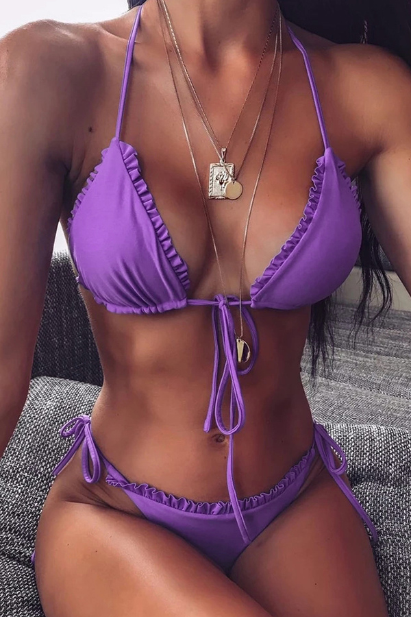 Lovely Lace-up Purple Bathing Suit Two-piece Swimsuit