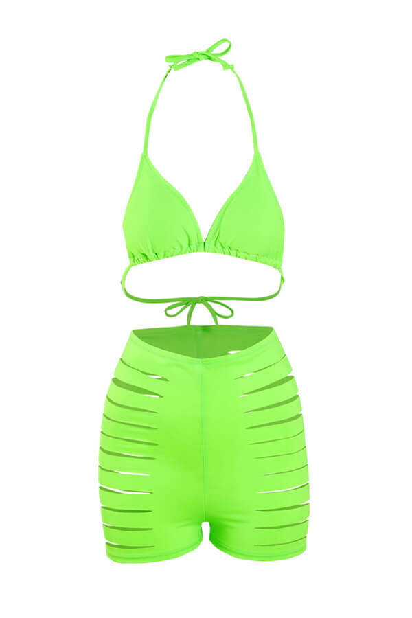 Lovely Hollow-out Green Bathing Suit Two-piece Swimsuit
