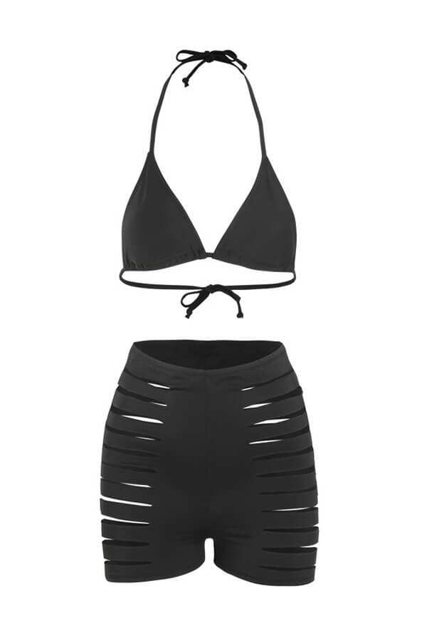 Lovely Hollow-out Black Bathing Suit Two-piece Swimsuit