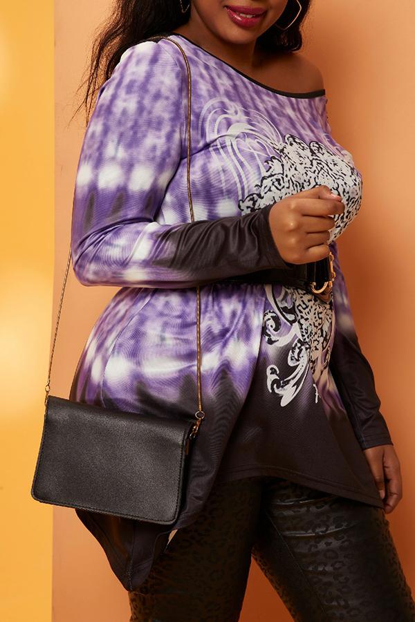 Lovely Casual Print Purple Plus Size T-shirt