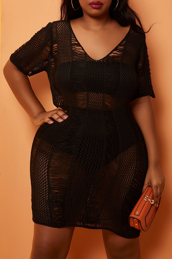 Lovely Sexy V Neck Lace-up Black Plus Size Cover-up(With Lining)