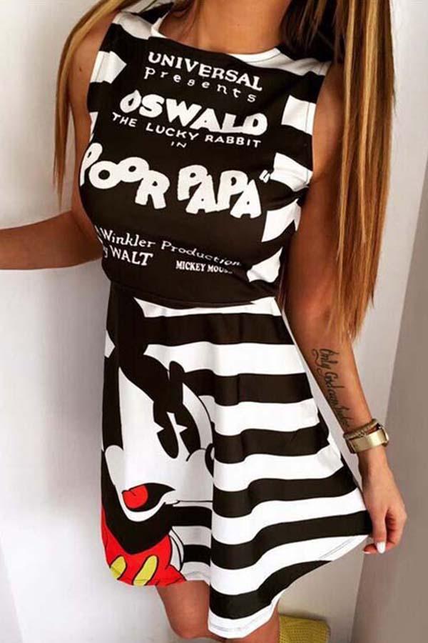 Lovely Chic Striped Print Black Mini Dress