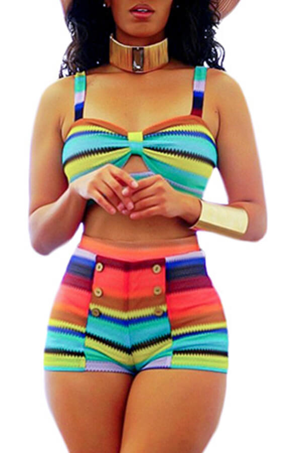 Lovely Striped Multicolor Bathing Suit Two-piece Swimsuit
