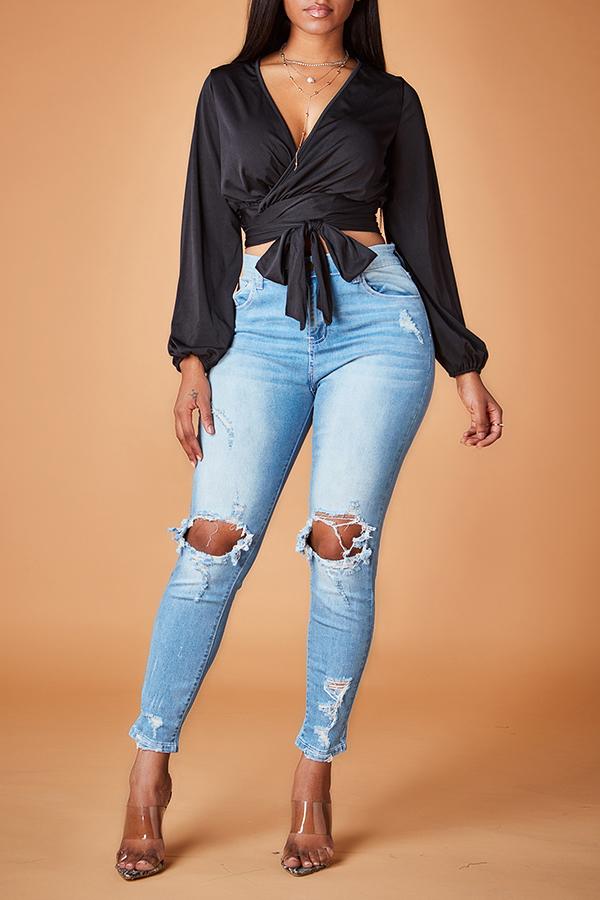 Lovely Casual  V Neck  Knot Design Black Blouse