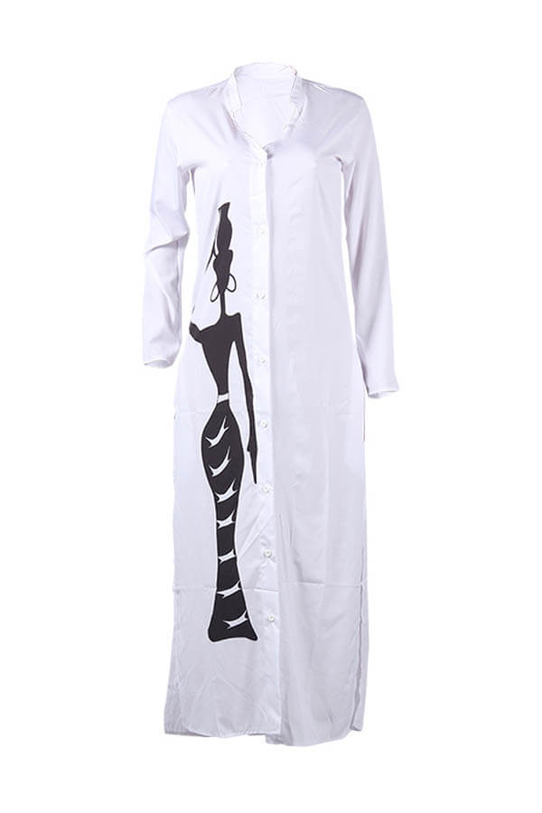 Lovely Casual Print White Ankle Length Dress