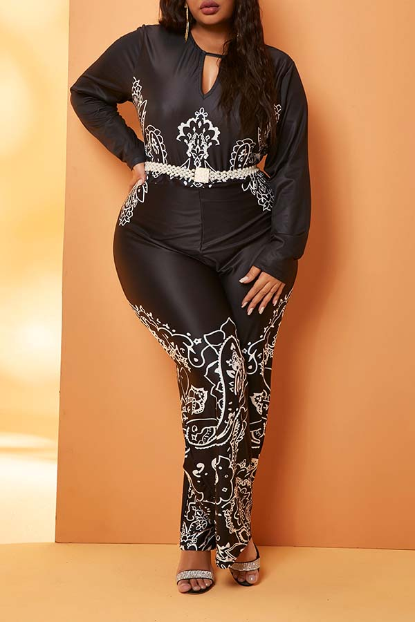 Lovely Trendy Print Black Plus Size One-piece Jumpsuit