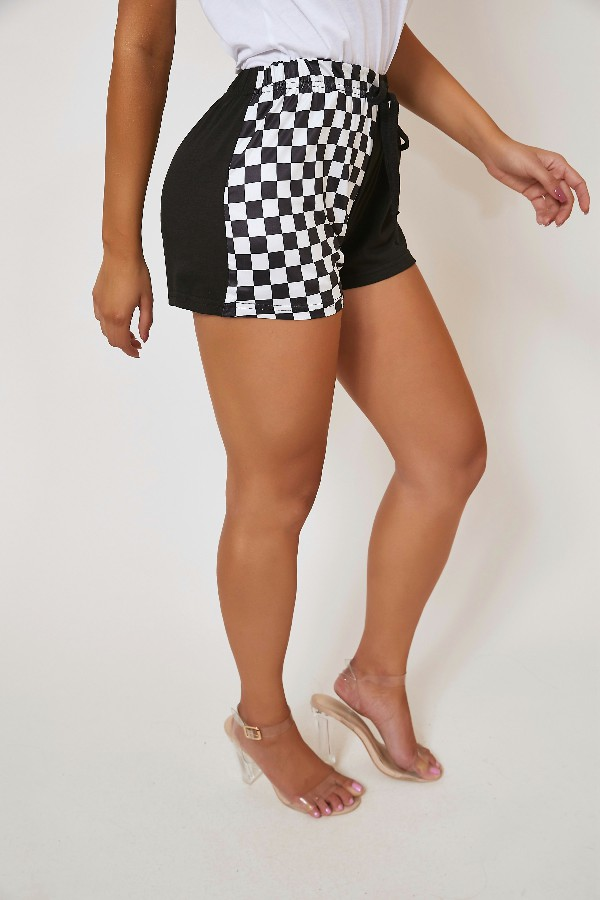 Lovely Leisure Patchwork Black Shorts