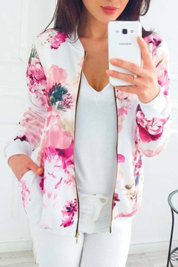 Lovely Trendy Print Multicolor Jacket