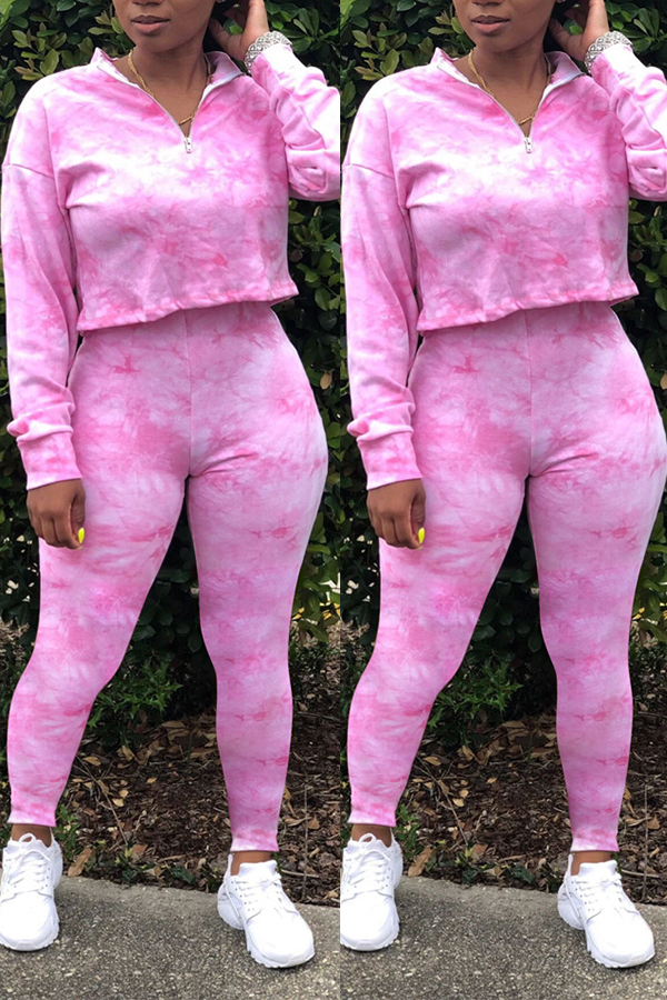 Lovely Casual Tie-dye Pink Two-piece Pants Set