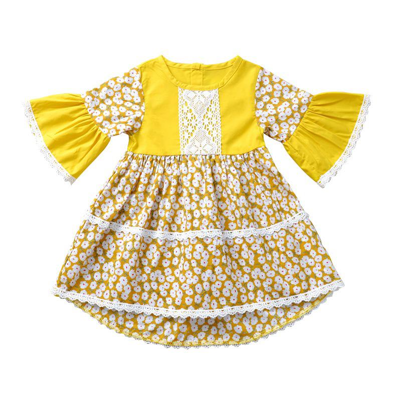 Lovely Bohemian Print Yellow Girl Knee Length Dress