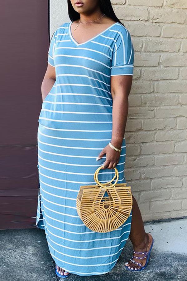 Lovely Casual V Neck Striped Blue Ankle Length Dress
