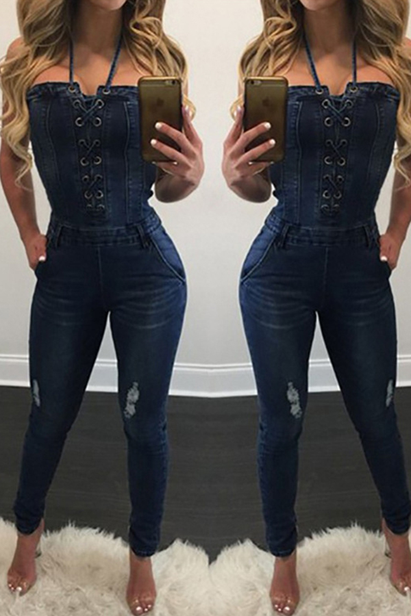Lovely Sexy Bandage Design Deep Blue One-piece Jumpsuit