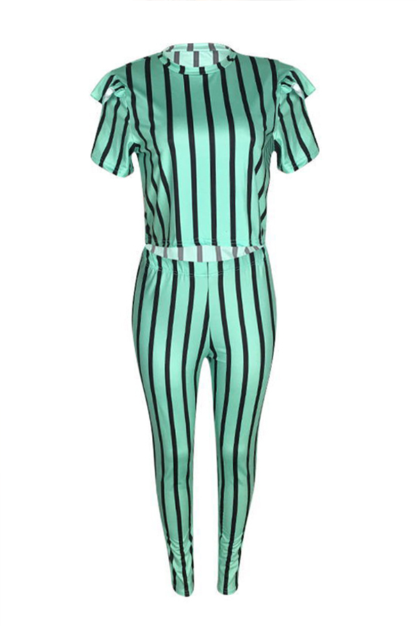 Lovely Casual Striped Green Two-piece Pants Set