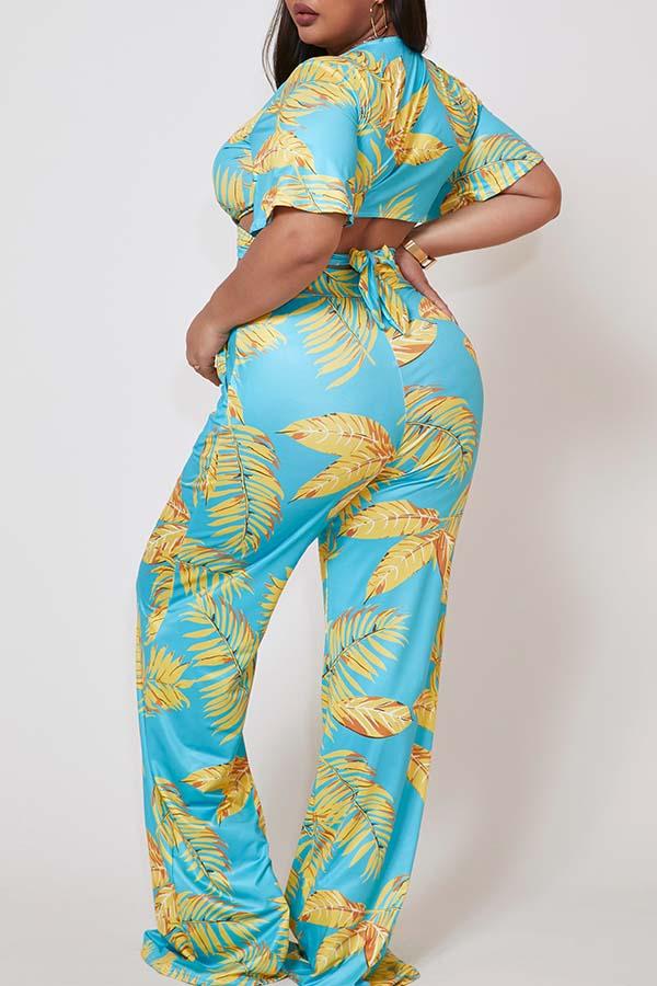 Lovely Plus Size Bohemian Print Baby Blue Pants Set