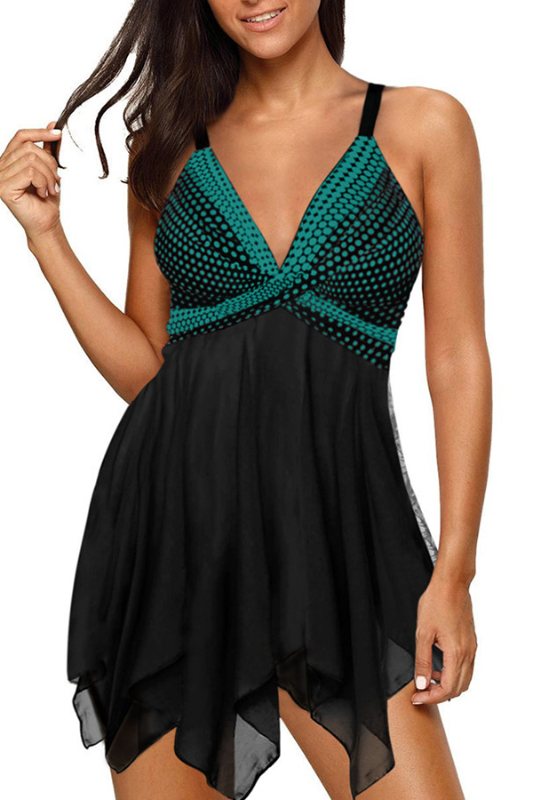 Lovely Patchwork Green Two-piece Swimsuit
