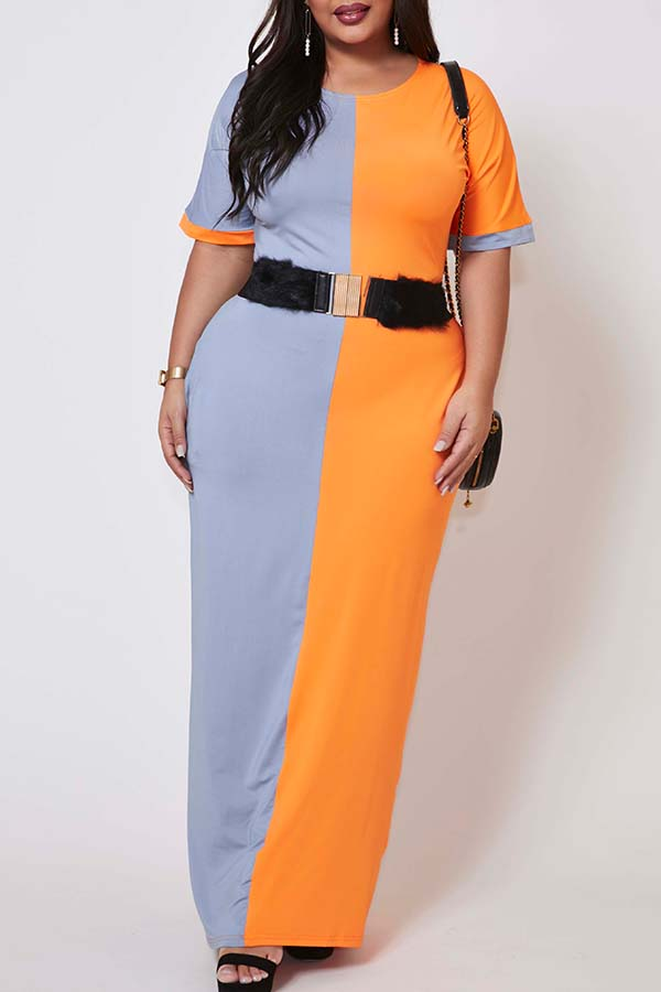 Lovely Casual Patchwork Croci Ankle Length Plus Size Dress