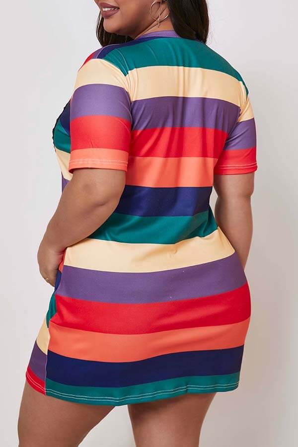 Lovely Sweet Striped Multicolor Mini Plus Size Dress