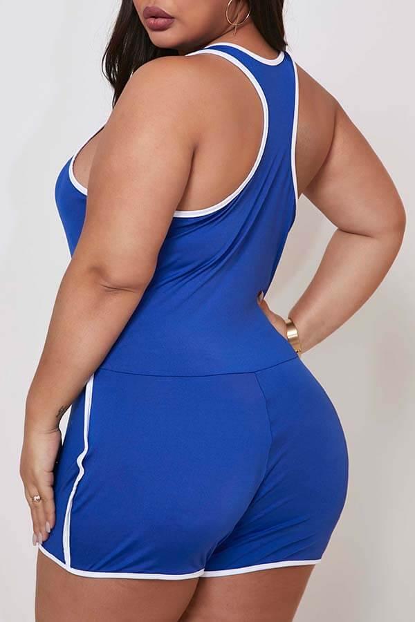 Lovely Sportswear Basic Blue Plus Size One-piece R