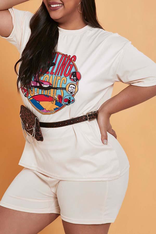 Lovely Casual Print Khaki Plus Size Two-piece Shorts Set