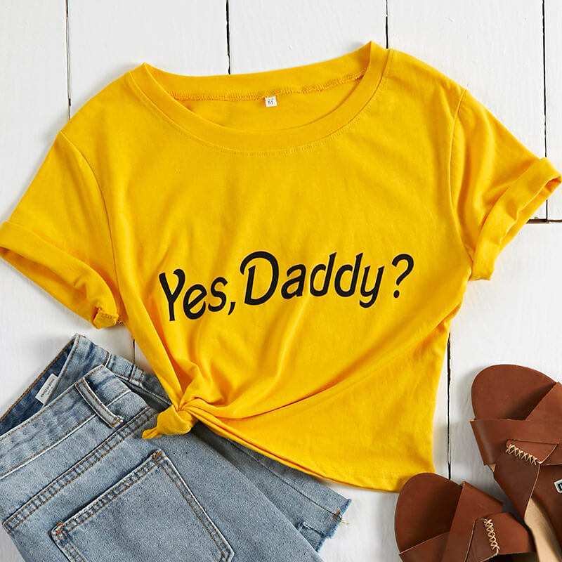 Lovely Leisure Letter Print Yellow T-shirt