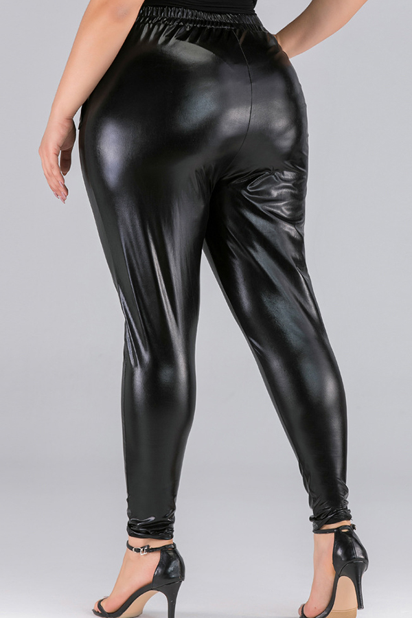 Lovely Trendy Basic Black Plus Size Pants