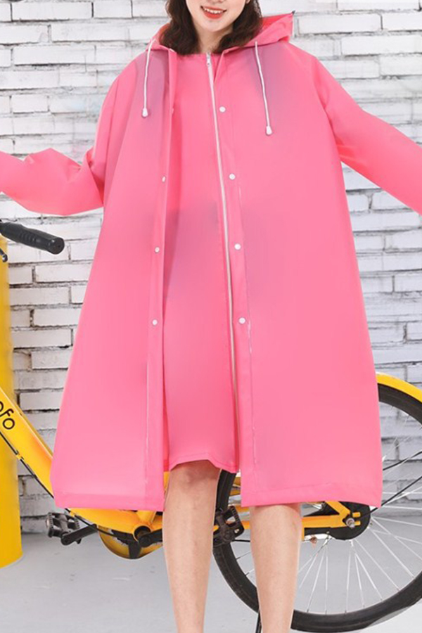 Lovely Dustproof Clothing Environmental Protection Lightweight Rose Red Raincoat EVA Thickened