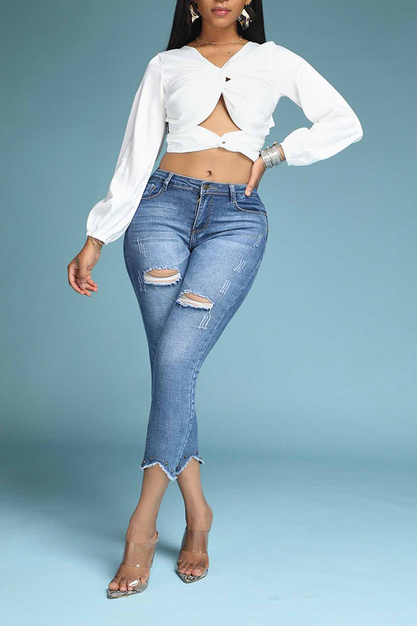 Lovely Stylish Hollow-out White Blouse