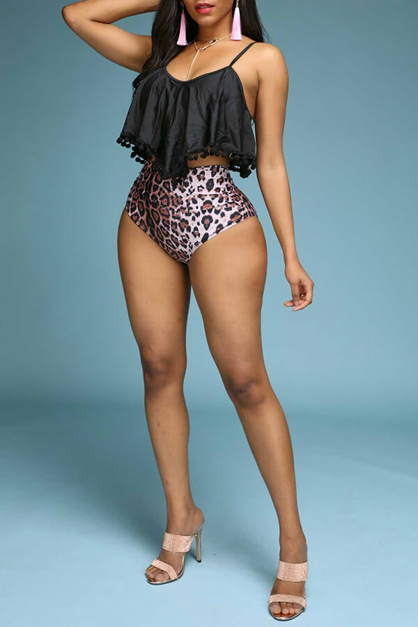 Lovely Flounce Design Print Black Two-piece Swimsuit