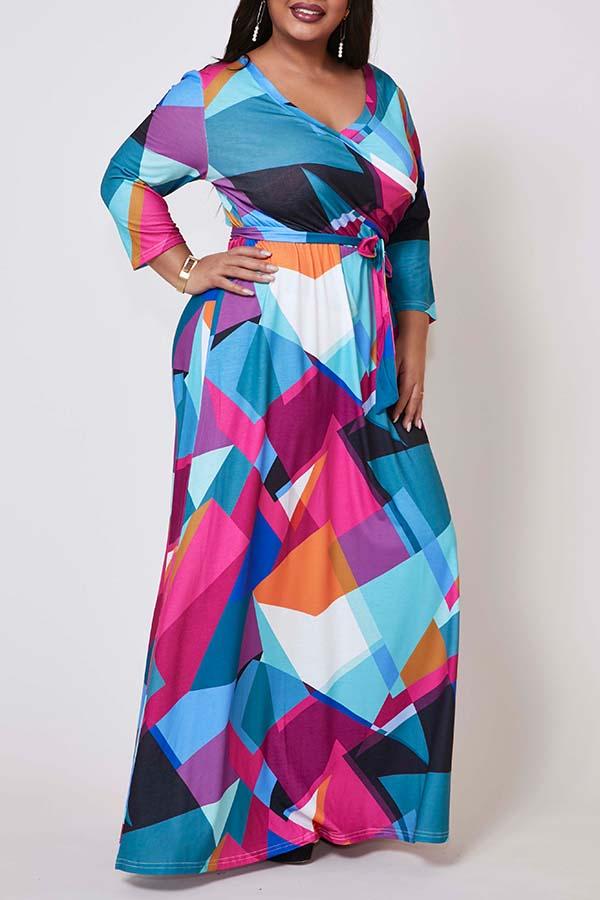 Lovely Trendy Print Multicolor Maxi Plus Size Dress