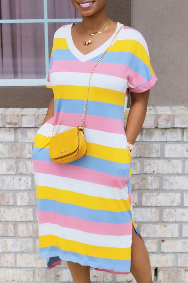 LW Leisure V Neck Striped Pink Mid Calf T-shirt Dress