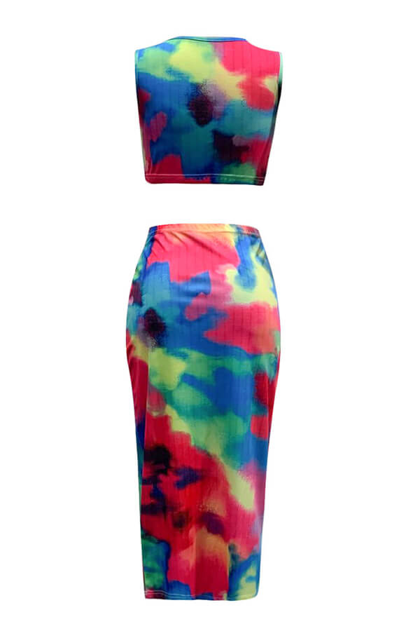 Lovely Casual Tie-dye Multicolor Two-piece Skirt Set