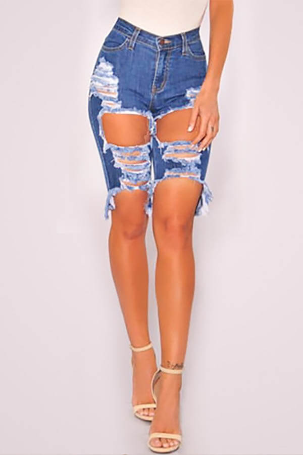 Lovely Casual Hollow-out Deep Blue Shorts