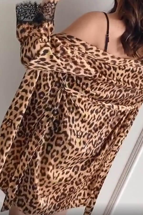 Lovely Trendy Leopard Print Sleepwear