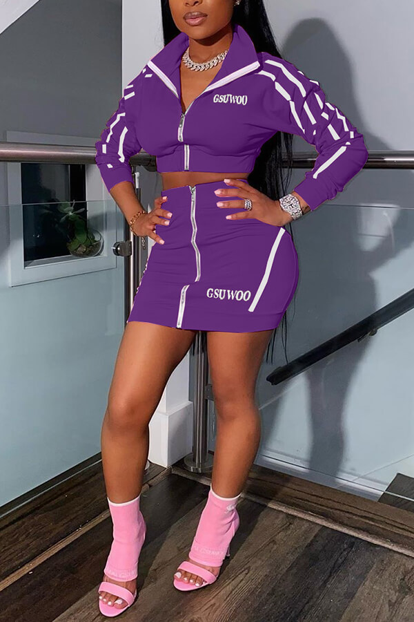 Lovely Casual Zipper Design Purple Two-piece Skirt Set