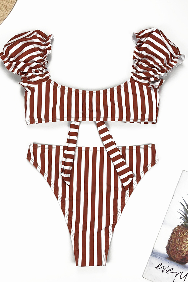 Lovely Striped Red Two-piece Swimsuit