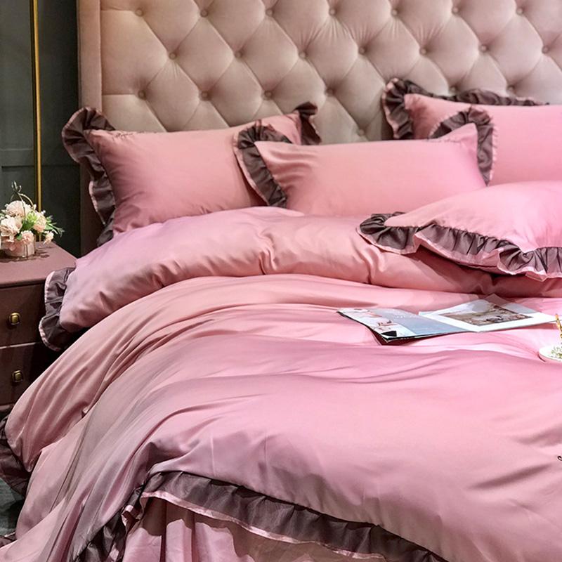 Lovely Leisure Flounce Design Pink Bedding Set
