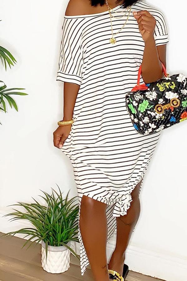 Lovely Leisure Striped White Mid Calf T-shirt Dress
