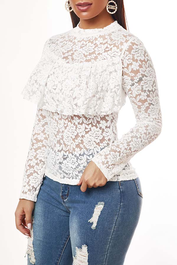 Lovely Sexy Lace See-through White Blouse