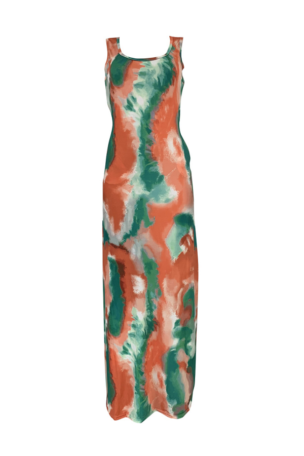 Lovely Casual Tie-dye Watermelon Red Floor Length Dress(With Elastic)