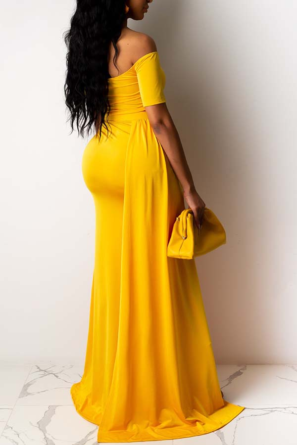 Lovely Sexy Bandage Design Yellow Two-piece Skirt Set