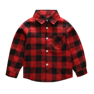 Lovely Casual Plaid Print Boys Shirt