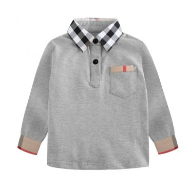 Lovely Leisure Plaid Print Grey  Boys T-shirt