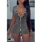 Lovely Chic Striped Skinny Black One-piece Romper