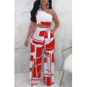 Lovely Trendy One Shoulder Red Two-piece Pants Set