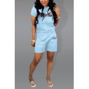 Lovely Chic Eye Print Baby Blue Two-piece Shorts S