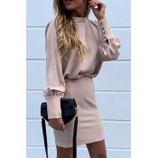 Lovely Work Backless Beige Mini Dress