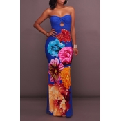 Lovely Chic Dew Shoulder Print Blue Maxi Dress