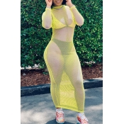 Lovely Trendy See-through Yellow Ankle Length Dres