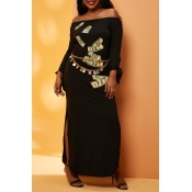 Lovely Chic Print  Black Ankle Length Plus Size Dr