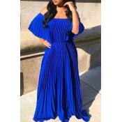 Lovely Bohemian Fold Design Blue Maxi Dress